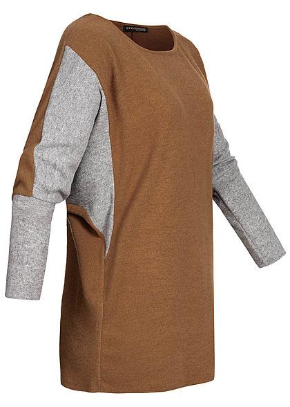 Styleboom Fashion Damen Chenille 2-Tone Shirt oversized camel braun grau