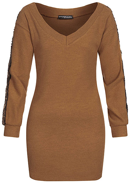 Styleboom Fashion Damen Soft-Touch V-Neck Pailletten Kleid camel braun