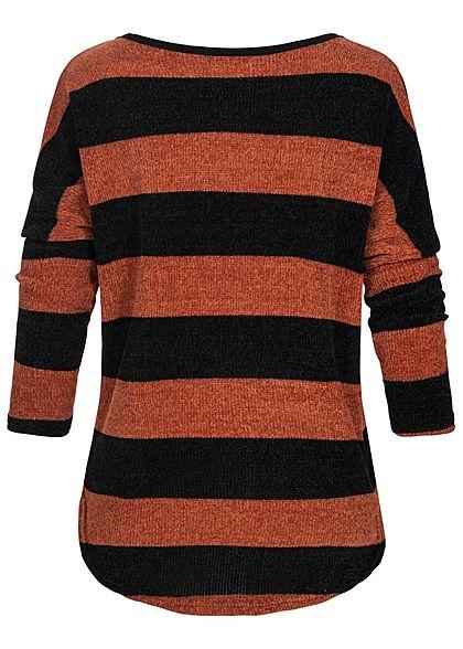 Styleboom Fashion Damen Chenille Oversized Sweater Streifen Muster braun schwarz
