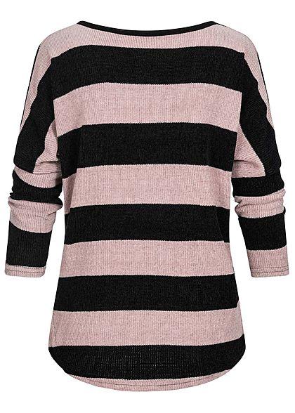 Styleboom Fashion Damen Chenille Oversized Sweater Streifen Muster rosa schwarz