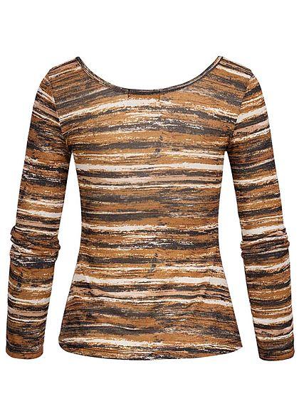 Styleboom Fashion Damen Lurex Glitzer Longsleeve Streifen Print kupfer braun