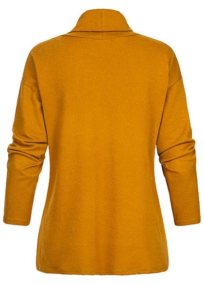 Styleboom Fashion Damen Rollkragen Pullover Pailletten Streifen senf gelb