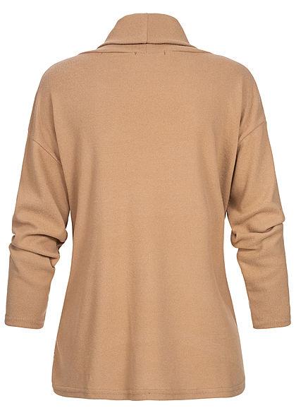 Styleboom Fashion Damen Rollkragen Pullover Pailletten Streifen nude beige