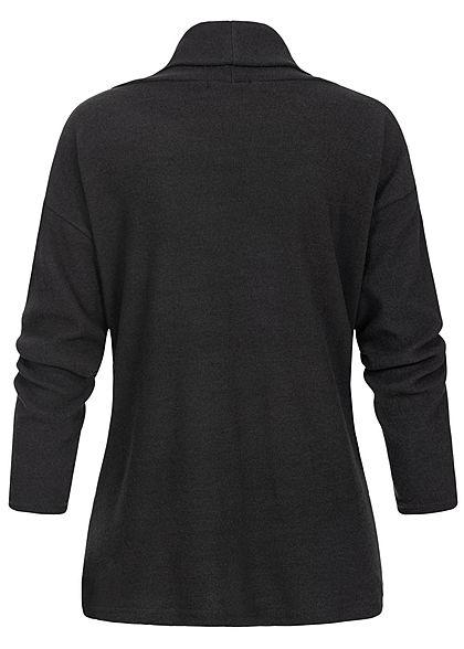 Styleboom Fashion Damen Rollkragen Pullover Pailletten Streifen schwarz