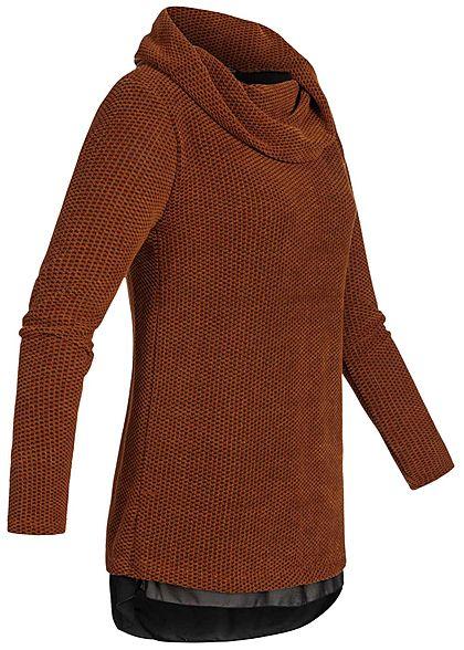 Styleboom Fashion Damen 2in1 Turtle-Neck Pullover kupfer braun schwarz