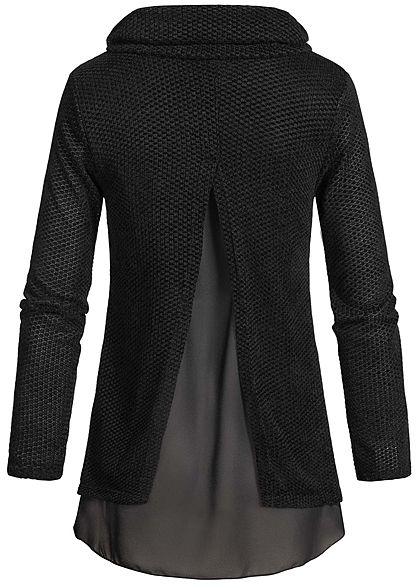 Styleboom Fashion Damen 2in1 Turtle-Neck Pullover schwarz