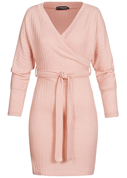 Styleboom Fashion Damen V-Neck Kleid Wickel-Optik mit Bindegürtel old rosa
