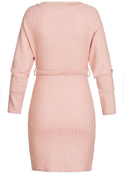 Styleboom Fashion Damen V-Neck Kleid Wickel-Optik mit Bindegürtel old rosa