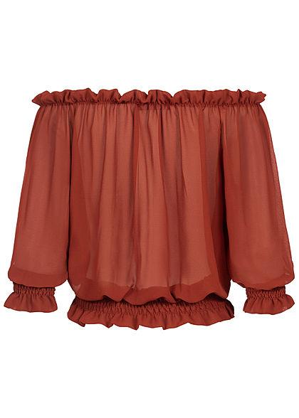 Styleboom Fashion Damen Carmen Chiffon Shirt Volantärmel kupfer braun