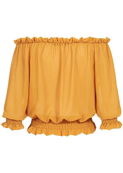 Styleboom Fashion Damen Carmen Chiffon Shirt Volantärmel gelb