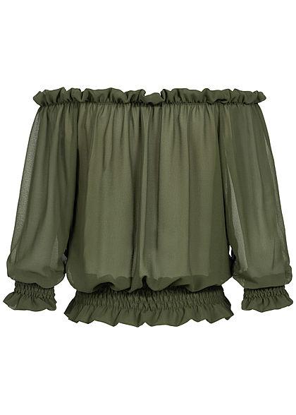 Styleboom Fashion Damen Carmen Chiffon Shirt Volantärmel military grün
