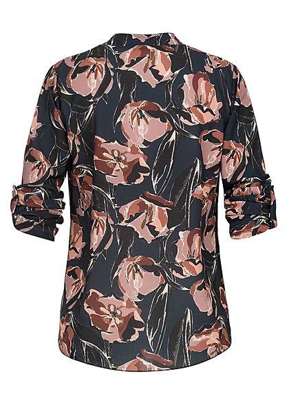 Styleboom Fashion Damen Turn-Up Bluse V-Neck Blumen Print schwarz blau