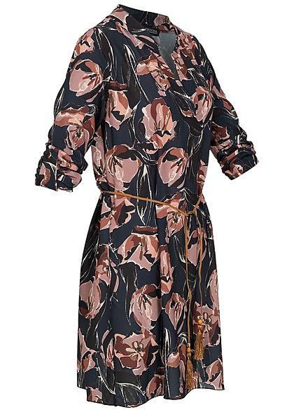 Styleboom Fashion Damen Turn-Up V-Neck Kleid Blumen Print Bindegürtel schwarz blau
