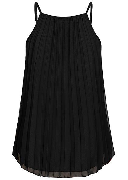 Styleboom Fashion Damen Colorblock Chiffon Plissee Top 2-lagig kupfer schwarz beige