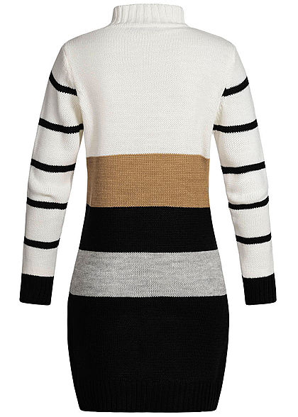Styleboom Fashion Damen High-Neck Strick Kleid Streifen Muster weiss