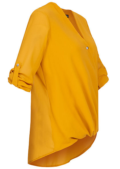 Styleboom Fashion Damen Turn-Up Chiffon V-Neck Bluse Wickel-Optik senf gelb