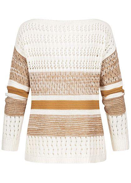Styleboom Fashion Damen Grobstrickpullover Lochmuster & Streifen off weiss braun