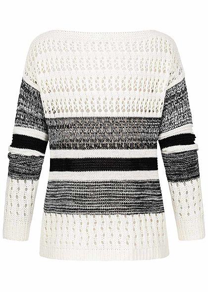 Styleboom Fashion Damen Grobstrickpullover Lochmuster & Streifen off weiss schwarz