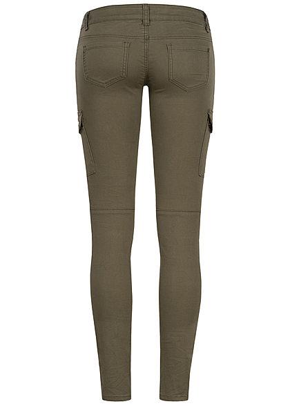 Seventyseven Lifestyle Damen Cargo Skinny Jeans 4-Pockets Low Waist military grün