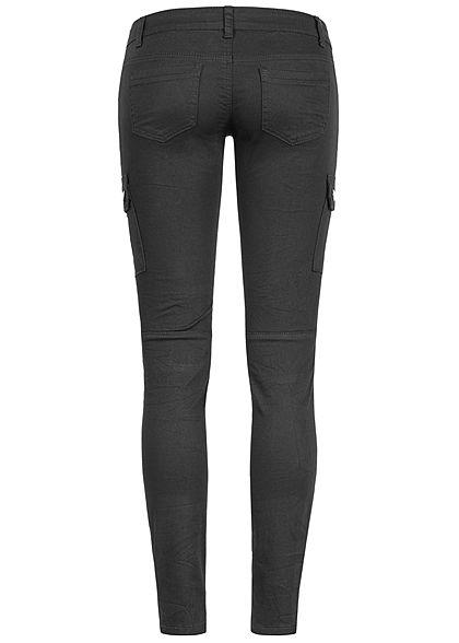 Seventyseven Lifestyle Damen Cargo Skinny Jeans 4-Pockets Low Waist schwarz denim