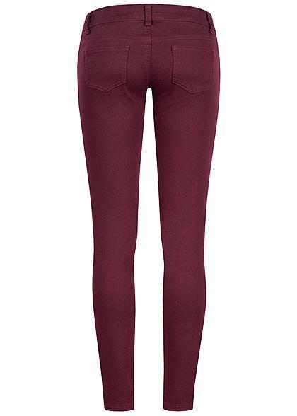 Seventyseven Lifestyle Damen Skinny Jeans 5-Pockets Low Waist bordeaux denim