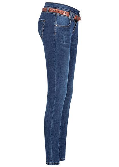Seventyseven Lifestyle Damen Skinny Jeans 5-Pockets inkl. Gürtel dunkel blau denim