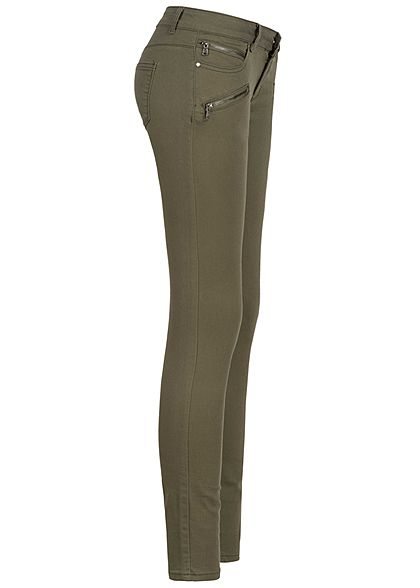 Seventyseven Lifestyle Damen Skinny Zip Jeans 4-Pockets Low Waist military grün denim