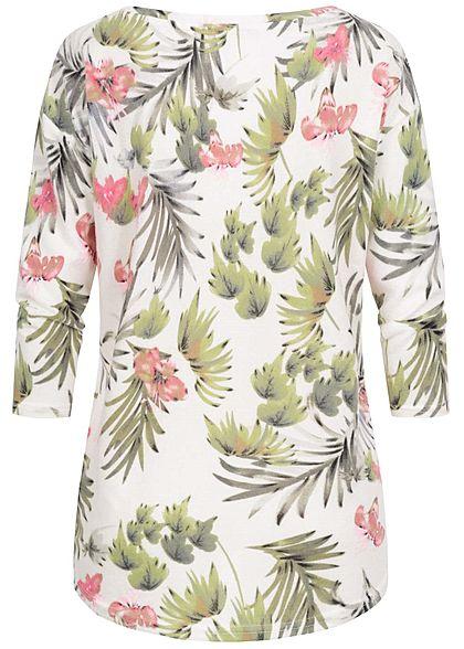 Seventyseven Lifestyle Damen Oversized 3/4 Arm Soft-Touch Shirt Floraler Print off weiss