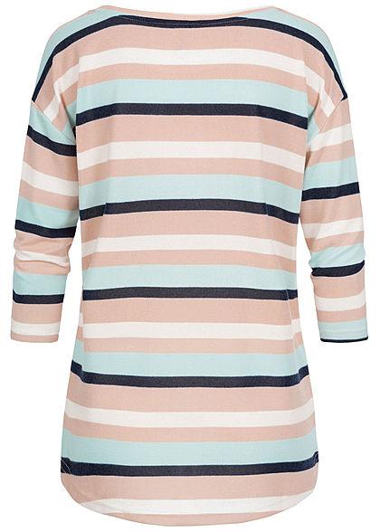 Seventyseven Lifestyle Damen Oversized 3/4 Arm Soft-Touch Shirt Streifen multicolor