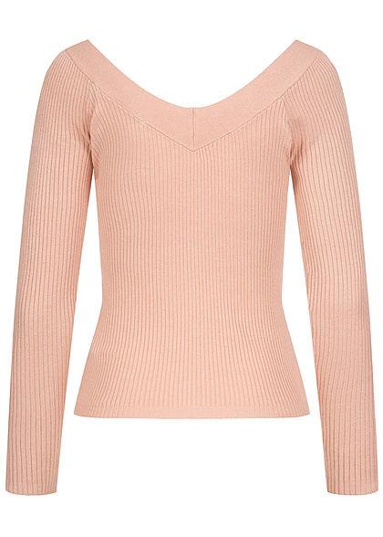 ONLY Damen Off-Shoulder V-Neck Ribbed Longsleeve smoke rosa