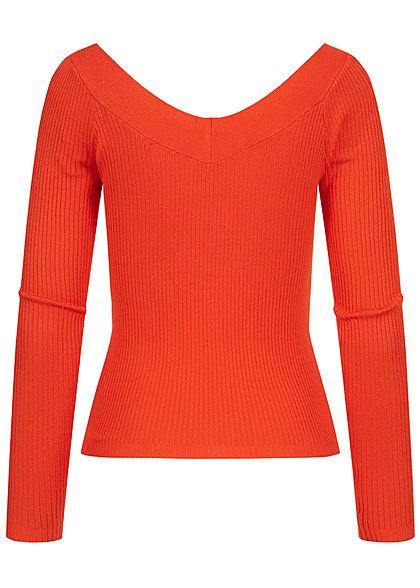 ONLY Damen Off-Shoulder V-Neck Ribbed Longsleeve spicy orange