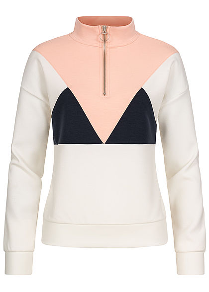 ONLY Damen Colorblock Half-Zip Sweat Pullover mit Stehkragen cloud dancer weiss rosa blau