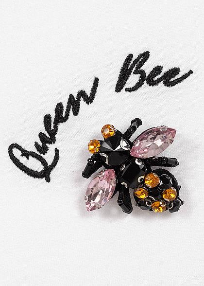 ONLY Damen T-Shirt Queen Bee Stickerei Strasssteinpatch Bienenkönigin bright weiss