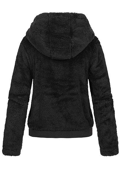 ONLY Damen Sherpa Teddyfell Zip Hoodie Jacke Kapuze 2-Pockets schwarz