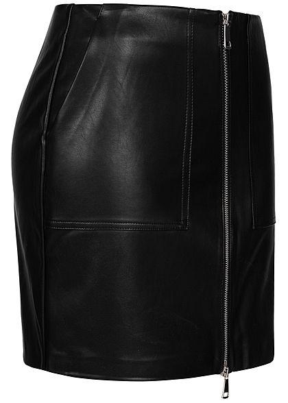 ONLY Damen High-Waist Rock Kunstleder Zipper vorne 2-Pockets schwarz