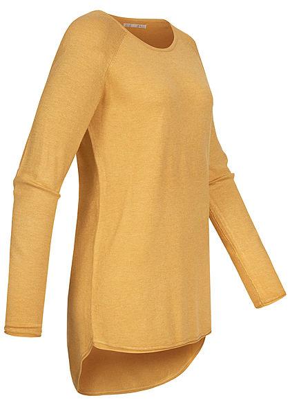 ONLY Damen NOOS Long Pullover mit Rollkante am Saum yolk gelb melange