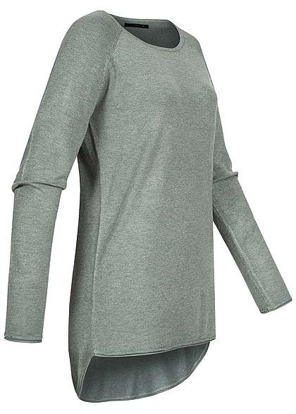 ONLY Damen NOOS Long Pullover mit Rollkante am Saum chinois grün
