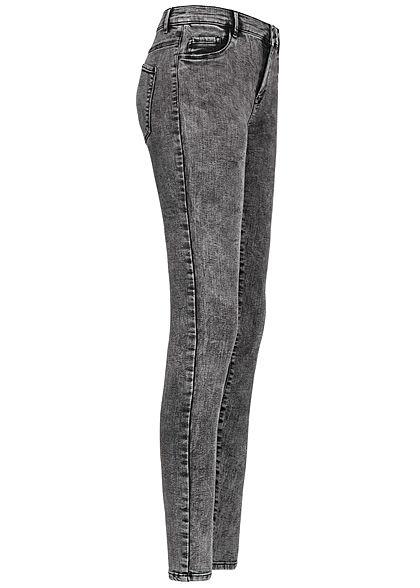 ONLY Damen Skinny Jeans Hose 3-Pockets Regular Waist Acid Wash grau denim