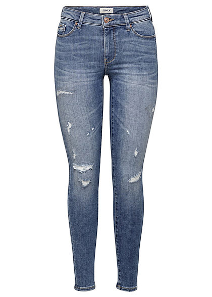 ONLY Damen NOOS Skinny Jeans Hose 5-Pockets Regular Waist Destroy Look blau denim