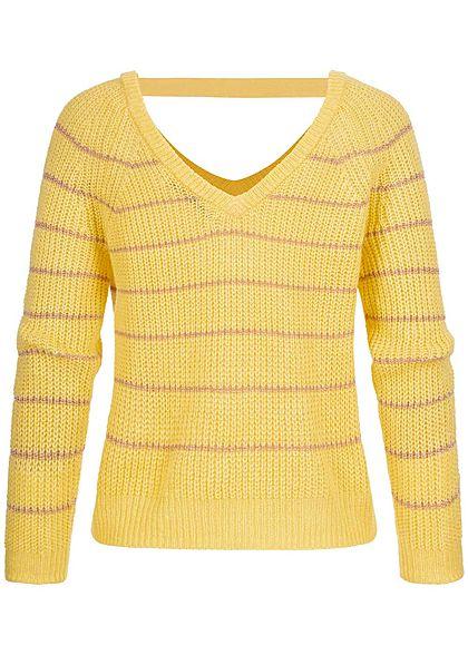 ONLY Damen V-Neck Riemen Strickpullover Glitzerstreifen pineapple slice gelb