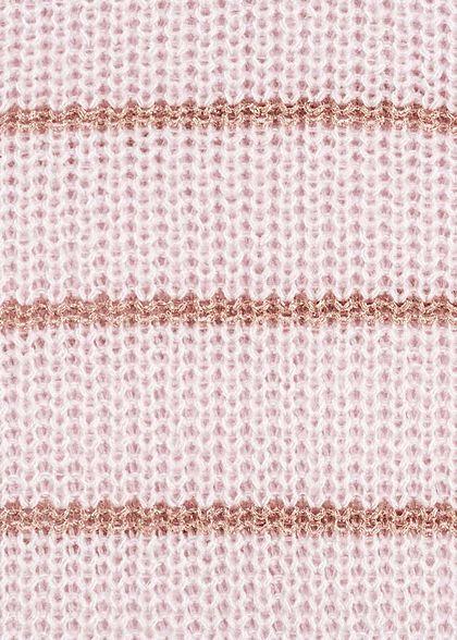 ONLY Damen V-Neck Riemen Strickpullover Glitzerstreifen smoke rosa