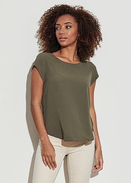 ONLY Damen NOOS Solid Blusen Shirt Struktur Muster Zipper hinten kalamata oliv grün