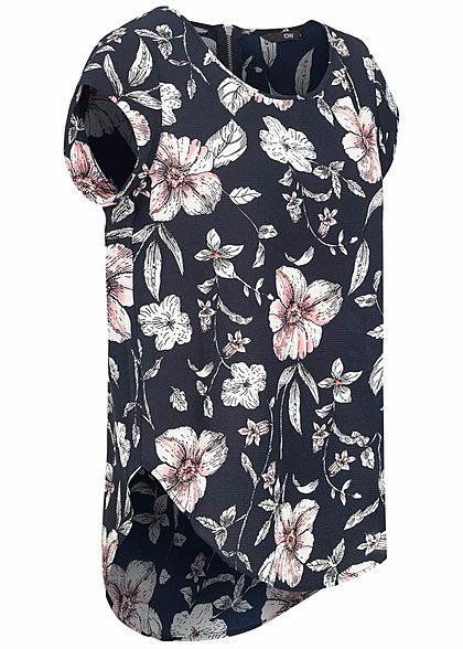 ONLY Damen NOOS Blusen Top Blumen Print Zipper hinten night sky navy blau