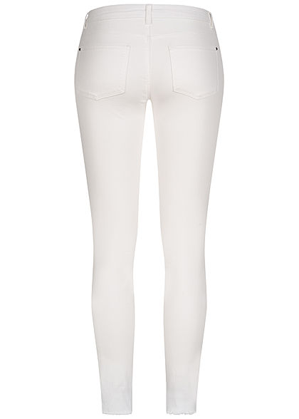 JDY by ONLY Damen Ankle Skinny Jeans Hose 5-Pockets Fransen Knopfleiste weiss denim