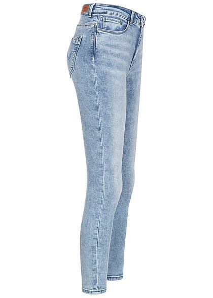 ONLY Damen NOOS High-Waist Ankle Skinny Jeans Hose 5-Pockets washed hell blau den