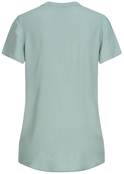 ONLY Damen V-Neck Blusen Shirt Vokuhila chinois grün