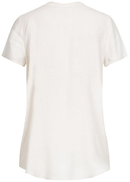 ONLY Damen V-Neck Blusen Shirt Vokuhila cloud dancer weiss