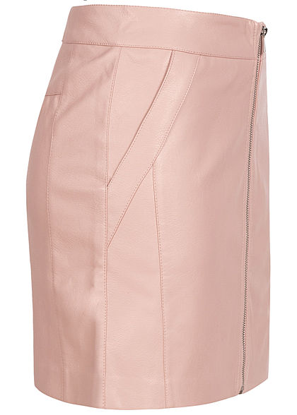 ONLY Damen Kunstleder Rock 2-Pockets Zipper vorne smoke rosa