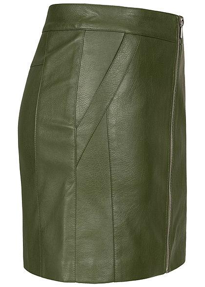 ONLY Damen Kunstleder Rock 2-Pockets Zipper vorne rifle grün