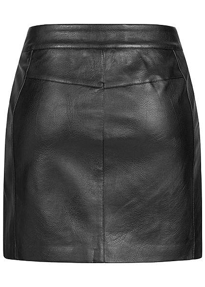 ONLY Damen Kunstleder Rock 2-Pockets Zipper vorne schwarz